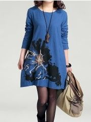 Designed Round Neck Cotton Floral Shift Dresses(plus Size)