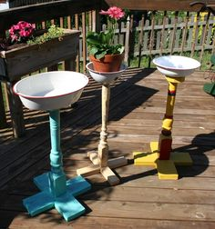 Fresh for summer, our distinctive collection of plant stands (or bird baths).  Each is unique, made of vintage porch posts or spindles and enamel basins. Like other Weston Custom Primitives, you can check out these painted ladies at Copper Rabbit, 414 Main Street, Weston, Missouri. weston-custom-primitives