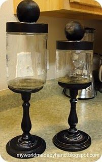 How to make apothecary jars with the candlesticks I have just sitting around...