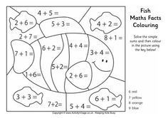 Fish maths facts colouring page