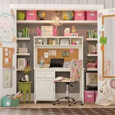 How adorable is this home office / work space, hidden behind closet doors? Be sure to visit our board Home Office for more great design and decorating ideas! Craft Room Office, Kids Closet Design, Space Saving Desk, Home, Closet Desk, Room Inspiration, Closet Designs, Space Saving, Closet Design