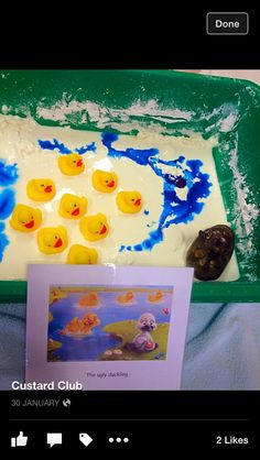5 little ducks in blue cornflour gloop