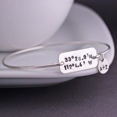 georgiedesigns - Latitude Longitude Bracelet, Personalized Location Bangle Bracelet in Sterling Silver