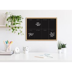 Latitude Run® Update your home organization with this elegant framed printed glass weekly calendar dry erase board. A glass dry erase board doesn't wear out as easily as traditional whiteboards, allowing you to wipe and reuse the surface over and over again. Framed in a sleek modern frame, this fun, contemporary design is the perfect calendar piece to add to your home décor collection. Printed and framed in the USA in Waunakee, Wisconsin, this printed glass art will be a pleasure to look at… Weekly Calendar, Modern Frames, Erase Board, Easy Wall, Housewarming Party, Home Organization, Reuse, Contemporary Design, Wisconsin