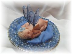 Natalie, a sweet blue polymer clay fairy. ooak art doll, one of a kind dolls.