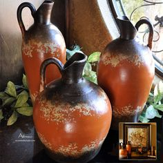 Tuscan Decor Vases in Alfresco Orange ~ Find this natural earthenware set at Accents of Salado.