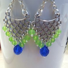 BLUE  & NEON GREEN BEADED DANGLE EARRINGS Whether you are a Seahawks fan or not, one cannot help to fall in love with the colors. They were made to go together!!  Perfect to wear with your favorite jeans OR your favorite Seahawks gear!!!  Jewelry Earrings