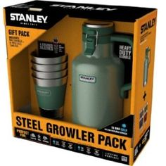This includes a Stanley Stainless Steel vacuum insulated growler along with (4) 12 ounce stainless steel cups. All items are made with 18/8 stainless. Growler features vacuum insulated body and f…
