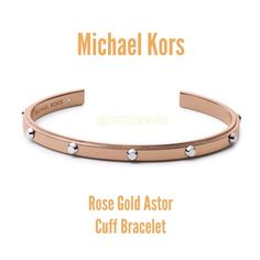 """Michael Kors Rose Gold Astor Studded Cuff Bracelet A simple, yet elegant design with a contemporary two-tone effect of rose gold plated steel and silver tone Astor studs. A cuff style bangle that is sure to add class to your look. Single glass crystal and logo at one end. Slip-on cuff style, open at ends. Inner diameter: 2-1/2 inches; width: 1/4"""" inch. Comes with MK velvet pouch. No trades no pay pal Michael Kors Jewelry Bracelets"""