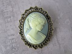 Large Blue Silhouette Cameo Brooch Pendant by WhyWeLoveThePast