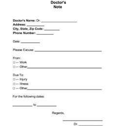 doctor note template for word