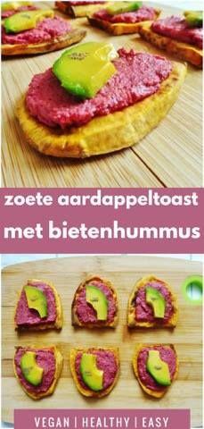 Toast van zoete aardappel belegd met bietenhummus en avocado #vegan # recept