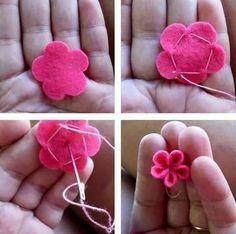 Felt Diy, Felt Crafts, Fabric Crafts, Sewing Crafts, Sewing Projects, Diy Crafts, Felt Flowers, Diy Flowers, Fabric Flowers