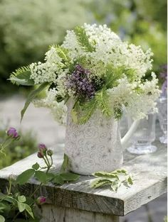 Lacey lavender and white