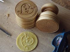 """CORZETTI PASTA Custom Stamp = 1 Handle + 1 """"Your Initials inside the heart"""" Custom Stamp handturned/handcarved, in Maple of Chiantishire"""