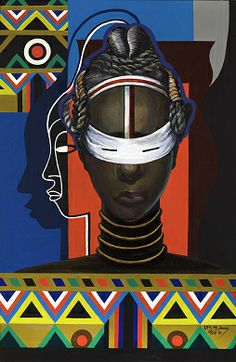 Initiation, Liberia, 1983, Loïs Mailou Jones, acrylic on canvas, 35 1/4 x 23 1/4 in. (89.6 x 59.1 cm), Smithsonian American Art Museum, Bequest of the artist, 2006.24.7