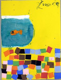 Fish Bowl Art mosaic oil pastel paint collage still life kindergarten first grade early elementary art project lesson