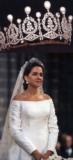 Infanta Nancy of Spain in the Alba Myrtle and Pearl Tiara and Victoria Eugenie's wedding veil