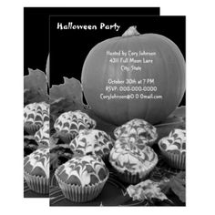 #Pumpkin and Cupcakes Halloween Party B&W Invite - #Halloween happy halloween #festival #party #holiday
