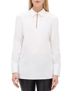 $134.4. LAFAYETTE 148 Top Agatha Italian Stretch-Cotton Blouse W/ Chain Detail #lafayette148 #top #blouse #cotton #clothing Navy Blue Suit, Cashmere Turtleneck, Branded Shirts, Lafayette 148, Lycra Spandex, Cotton Blouses, What To Wear, Long Sleeve, Shopping