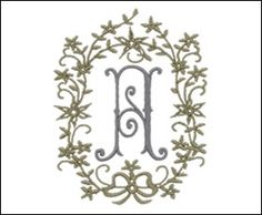 Romanesque Monogram Set 2  1 3/4 inch high letters (45mm)  3 1/2 inch garland border (89mm)   2 colors   (AL01203A-Z)   stitch count: 8,110 - 10,225