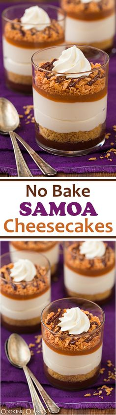 A stunning, well-organized mini cheesecake. No Bake Samoa Cheesecakes Samoa Cheesecake, Cheesecake Recipes, Dessert Recipes, Homemade Cheesecake, Classic Cheesecake, Mini Desserts, Just Desserts, Delicious Desserts, Yummy Food