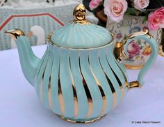 Sadler Duck Egg and Gold Vintage Teapot | Cake Stand Heaven