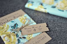Garden party invitations: printed on brown card stock, black font and wrapped with scraps of vintage fabric and/lace