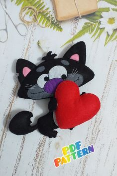 Cat sewing pattern, kitten ornament, cat plushie pattern, valentine's day pet, felt heart, funny valentine card, digital, pdf pattern