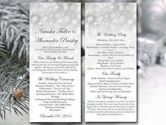 winter wedding program template download by paintthedaydesigns
