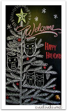 chalkboard art by Regina ( Blackboard Art, Chalkboard Writing, Chalkboard Drawings, Chalkboard Lettering, Chalkboard Designs, Diy Chalkboard, Chalk Drawings, Office Christmas, Christmas Deco