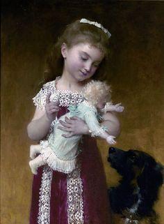 Emile Munier (1840 – 1895,French) - La jeune fille et sa poupée