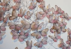 Butterfly Tree (detail) by Asuka Hishiki, 2013. Installation at Wave Hill. Mixed media (graphite on paper, print on vellum, gesso, insect pins, poly panels).