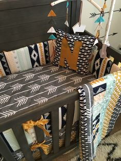 Crib Bedding Set | Nursery Custom Noah Woodland Baby Bedding Aztec Tribal Nursery Navy Gold Bumper Sheet Skirt Pillow Quilt Baby Boy by SproutCribCoutureLLC on Etsy https://www.etsy.com/listing/292887191/crib-bedding-set-nursery-custom-noah