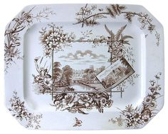 """Anglais series """"Warwick Castle"""" / """"Guy's Cliffe"""" platter in brown"""