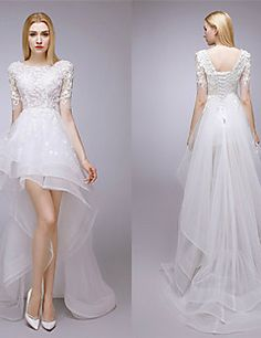 A-line+Wedding+Dress+-+White+Asymmetrical+Jewel+Lace+/+Tulle+–+USD+$+159.99