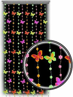 Beaded Curtains Black Light Reactive Neon Butterflies Door Beads 60940 * Check this awesome product by going to the link at the image. Closet Curtains, Black Curtains, Door Curtains, Hanging Curtains, Valance, Door Beads, Make A Door, Neon Room, Party Streamers