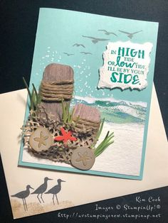 Stampin' Up! The High Tide stamp set and the Under the Sea framelits worked perfectl High Tide Stampin Up, Nautical Cards, Nautical Theme, Beach Cards, Sea Theme, Stamping Up Cards, The Draw, Sympathy Cards, Masculine Cards