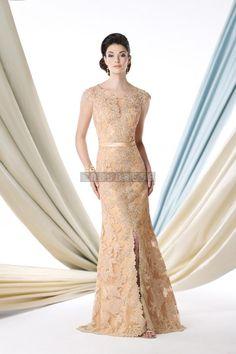 Trumpet Natural Waist Satin,lace High Neck Evening Dress