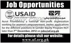 Job Opportuinities In Aurat Foundation