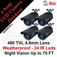 Q-See 4-pack Night & Day Color Weatherproof CCD Surveillance Security Camera Kits by Q-See. $189.98. Q-See surveillance cameras are always an excellent choice for capturing activity indoors or out, day or night. The high-quality QD4801B cameras have a Sony CCD image sensor, 480 TV lines of resolution, 24 infrared LEDs and a 75 foot night vision range. Because of their 0 lux luminance, the potent night vision you need can be achieved in low to zero light. They are ready-...