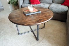 Round Rustic Industrial Pipe Coffee Table