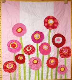 Mohn-Baby Decke  Wand Kunst Steppdecke  Poppy Garden in