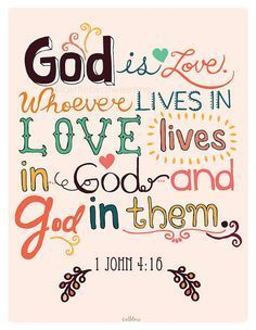 The message, the verse, the colors, the typography - I think I might try to replicate the typography so I can do it with other Bible verses as well. Favorite Bible Verses, Bible Verses Quotes, Bible Scriptures, Scripture Art, Love The Lord, Gods Love, Images Bible, Scripture Pictures, 1 John