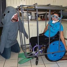 This shark attack. | 26 Insanely Clever Costumes For People Who Use Wheelchairs
