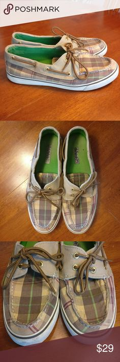 Sperry Top-Sider Plaid Loafer Shoes Sperry Top-Sider  Plaid Loafer Shoes.  Good used condition, see photos for wear.  Brown/ tan plaid with some green/ dark red.  Size 8.5M. Sperry Top-Sider Shoes Flats & Loafers
