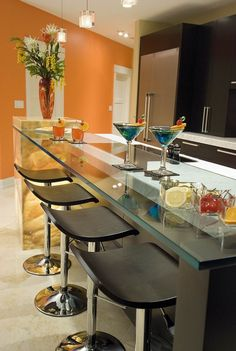 "Similar to high top tables in Italian bars, and glass (3/4""?) bar top.   I can do w/o the stools, wall art, orange paint."