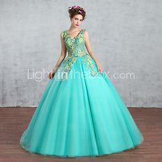Princesa Vestido de Noiva Vestidos Noiva de Cor Longo Decote V Crepe / Renda com Com Apliques / Cristais / Renda - BRL R$675,97