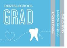 Dental School Graduation. Graduation Invitation Blue and Gray Tooth Dental Booklet