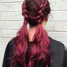 Balayage Hair And Highlights 40 Awesome Balayage Red Hair Inspiration Cute Hair Colors, Hair Dye Colors, Cool Hair Color, Dye My Hair, New Hair, Tip Dyed Hair, Plum Hair, Red Pink Hair, Cherry Red Hair